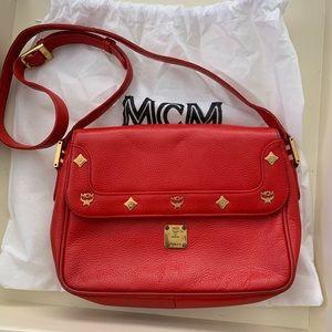 Authentic red McM crossbody bag